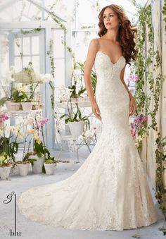 Wedding Gown 5415 Scalloped Alencon Lace Edging Contours the Net Gown with Appliques and Crystal Beading