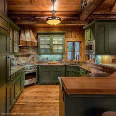 Rustic Kitchen Homes Interior Designs Fantasy Rooms, Lake Cabins, Cabin Design, Log Homes, Living Spaces, Rustic, Interior Design, Architecture, House