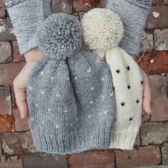 hand knit polka dot toddler pom pom hat // grey & white fair isle baby girl…