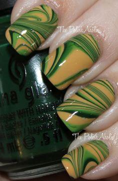 Green and Gold Water Marble: China Glaze Holly-Day, China Glaze Gaga For Green and Butter London Bumster. Get Nails, Love Nails, Hair And Nails, Nail Polish Designs, Nail Art Designs, Packer Nails, Football Nails, Nail Polish Painting, St Patricks Day Nails