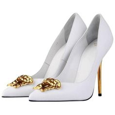 New Versace White Leather Medusa Pumps Heels It. 38.5 (£765) ❤ liked on Polyvore featuring shoes, pumps, heels, heels stilettos, high heel stilettos, white leather shoes, stiletto pumps and white stilettos