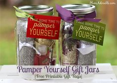 Pampered Jar & Free Printable Tags... this would make a great gift!!