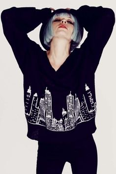 Wildfox Couture It Could Happen School Girl V-Neck Sweater in Clean Black