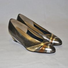 Vintage Pewter Bronze Gold Wedges by California by swiemann, $25.00