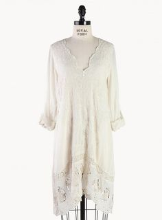 Mirror Embroidered V-Neck Tunic - Clothing