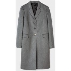Paul Smith Women's Grey Wool-Cashmere Epsom Coat ($680) ❤ liked on Polyvore featuring outerwear, coats, patterned wool coat, gray wool coat, button coat, pure cashmere coat and cashmere coats