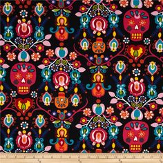 Alexander Henry Folklorico Calaveras Del Mar Black/Bright from @fabricdotcom  Designed by De Leon Design Group for Alexander Henry, this cotton print fabric is perfect for quilting, apparel and home decor accents. Colors include shades of red, pink, orange, green, white, blue, teal, orange, yellow, brown and black.