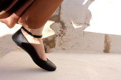 czarne baletki  ze skóry