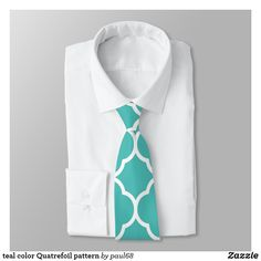 Shop teal color Quatrefoil pattern Neck Tie created by Personalize it with photos & text or purchase as is! Quatrefoil Pattern, Custom Ties, Suit And Tie, Teal Colors, Suit Fashion, Clothes, Accessories, Design, Bow Tie Suit