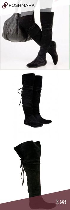 """House of Harlow high 1960 boots House of Harlow 1960 talia knee high tall black boots size 38. These suede boots feature a lace-up, wraparound suede tie at the slouchy shaft. Seam detailing. 25"""" (64 cm) shaft and 16.5"""" (42 cm) circumference. Rubber sol (knees, thigh high, tall, boot, black, suede, designer boots, revolve, 7.21.10) House of Harlow 1960 Shoes Over the Knee Boots"""