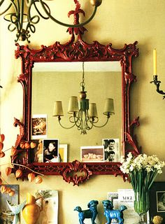 The Decorista-Domestic Bliss: Decorista Trend Spotting: painted red furniture French Mirror, Red Mirror, British Colonial Decor, Yellow Walls, Green Accents, Diy Wall Art, My Living Room, Decoration, Decorating Your Home