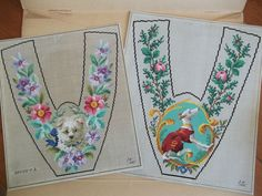 2 Berlin woolwork hand painted patterns graphs for slippers greyhound & dog