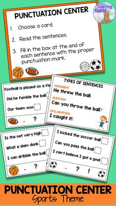 Increase engagement with this Punctuation Literacy Center with a sports theme! It can help grade students identify, complete and write statements, questions, and exclamations. There are two versions of the center so you can differentiate. Punctuation Activities, Graphing Activities, First Grade Activities, Math Literacy, Literacy Centers, Reading Activities, Teaching Grammar, Teaching Reading, Teaching Resources