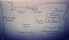 Here's a map of how one might venture this trip:   Taking A Trip Through The Seven Wonders Of Oregon