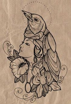 love this idea. I'd love to make the bird be a robin and the woman have my moms features as a tribute tattoo to her. also I'd want the flowers around it to be roses