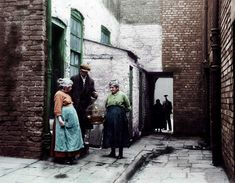 Colour version of picture. The occupiers of No 3 Court, Clayton Street, Liverpool, with their canary. Liverpool Docks, Liverpool History, Liverpool England, Liverpool Street, Old Pictures, Old Photos, Guitars For Sale, Slums, The Good Old Days