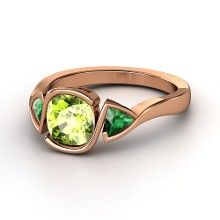Cushion Peridot 14K Rose Gold Ring with Emerald