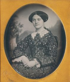 Mid 1840s fashion dress Lizzie S. White daguerreotype