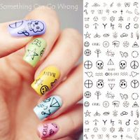 1sheet Nail Art Water Decals Transfer Stickers Quirky Skull Peace Symbol Music Stickers