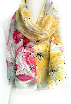 Valentine Gift for Her. Whimsical Silk Scarf. Hand Painted Shawl. Women Scarf. Fuchsia Yellow Scarf. 14x71 in. (35x180cm). Ready to Ship.. $38.00, via Etsy.