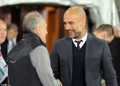 City boss Pep Guardiola shakes hands with opposite number and Swansea manager Francesco Guidolin before kick-off