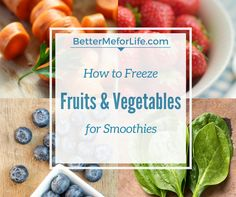 Stop wasting food and money throwing spoiled fruits and vegetables out! Freeze fruits and vegetables for smoothies and always have ingredients on hand.