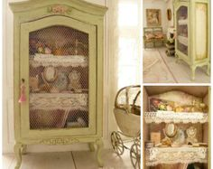 Miniature OOAK Romantic curio Provence green, French antique lace, Dollhouse…