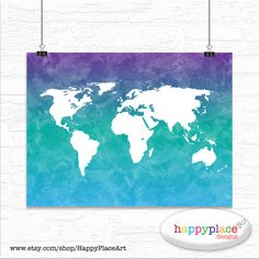 2 large world map poster blue purple watercolor world map 16x20 large aqua and purple watercolour texture world by happyplaceart gumiabroncs Gallery