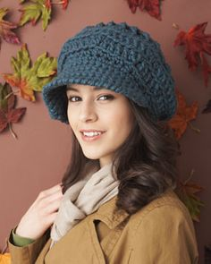 Stylish, slouchy hat with fun textured detail. Crocheted in Bernat Softee Chunky.