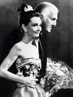 Audrey at 54 and Givenchy celebrating the 30 years of Maison Givenchy, on April 09, 1983.