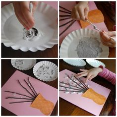 This DIY catkins craft (aka pussy willow craft) is fun for the kids - it uses twigs and Q-tips. Craft Projects For Adults, Crafts For Kids To Make, Frugal Family, Family Crafts, Spring Art, Spring Crafts, Preschool Crafts, Fun Crafts, Preschool Ideas