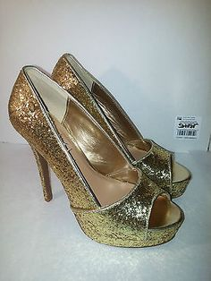 C Label Jocelyn-55 Womens Size 8.5 Gold stiletto Open Toe Pumps Heels Shoes
