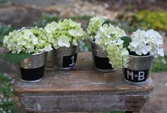chalkboard buckets for flowers