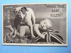 Vintage bulldog postcard from WWI