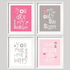 You Are My Sunshine - Pink and Grey Giraffes and birds- 5x7 wall art, baby shower gift, boy and girl colors. $39.95, via Etsy.