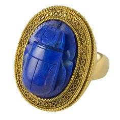 19th Century Etruscan Revival Lapis Gold Scarab Ring  via Sue Brown on 1stdibs