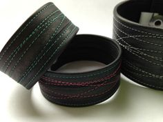 Wide recycled bicycle inner tube bracelet / cuff  by VeloCulture
