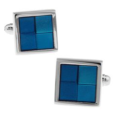 Noble Square Blue Pattern Cufflinks Gift Box Package