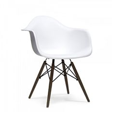 Mid Century White Arm Chair with Walnut Wood Base (Set of 5): $720