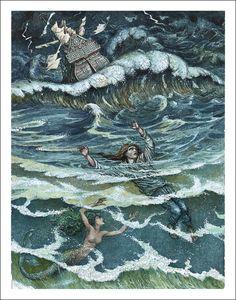 "Boris Diodorov illustration for ""The Little Mermaid""."