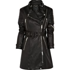 Burberry Prorsum Quilted leather motocross coat (10.610 BRL) ❤ liked on Polyvore featuring outerwear, coats, jackets, casacos, tops, burberry, black quilted coat, burberry coat, quilted leather coat and black coat