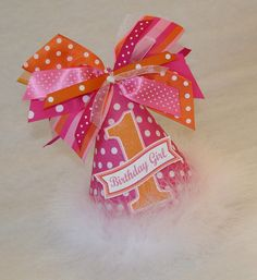 Hot Pink and Orange Polka Dot Party Hat
