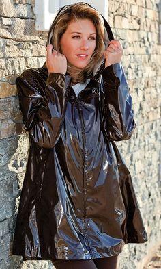 Imperméable vernis Chocolat - Fil d'Ecume Boutique nice black raincoat
