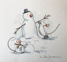 Unframed mounted watercolour x Spread the cost over 10 months with an Own Art interest free loan. Christmas Doodles, Christmas Drawing, Christmas Art, Caricature Gifts, Anita Jeram, Mouse Pictures, Winter Illustration, Cute Rats, Snow Fun