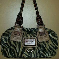 Guess Zebra Fur Bag Good condition handles are a bit worn. Guess Bags
