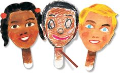 R22045 Paddle Puppets Ages 3+ Personalize your puppet performance with a fun project that combines both art and drama! Inspire confident communication skills while exercising fine and gross motor development. Paddle Puppets feature 12 different hairstyles. Draw your own self-portrait puppet or create fun characters. Use both sides of the heavy card Paddle Puppets. Decorate with pencil, crayon or paint. Add dramatic detail with stickers, yarn, fabric and craft paper. Multicultural Crafts, Teaching Supplies, Arts And Crafts, Paper Crafts, Gross Motor, Play To Learn, Communication Skills, Learning Resources, Educational Toys