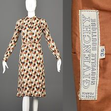 M Vintage 70s 1970s Givenchy Argyle Wool Knit Dress Long Sleeve Matching Scarf