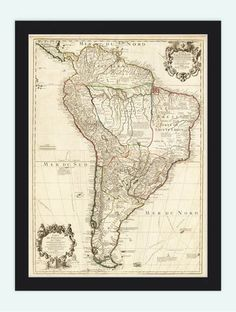 Old Map South America Brasil Venezuela Peru Argentina Chile 1775 - VINTAGE MAPS AND PRINTS