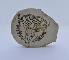 Wooden celtic coaster with a deer. For mug by ArchdeansMagicShop