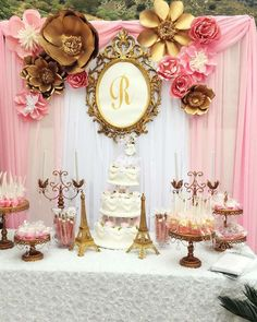 Gorgeous pink and gold Paris themed wedding party! See more party ideas at CatchMyParty.com!